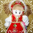 - Papusa imbracata in costum popular traditional romanesc lucrat manual
