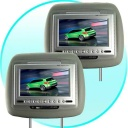 Car Video - Car Headrest DVD player system with a high quality faux leather exterior in grey, and a super large 7 inch TFT LCD display for letting passengers in the grey seats really enjoy movies as you drive.