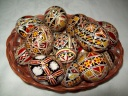 Egg - 0004 - Decorated eggs with traditional geometric motifs and colours that are typical of zone.  Size: hen egg.  Price: 2 €