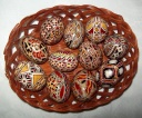 Egg - 0009 - Decorated eggs with traditional geometric motifs and colours that are typical of zone.  Size: hen egg.  Price: 2 €