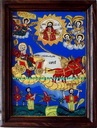 ICO-0006 - Pret 80 € Glass icon St. Elijah, horse and chariot of fire ascending to heaven. Icon painted on glass in rustic style in oil, gold leaf.Dimensions: 30-20 cm (without frame). Icoana pe sticla Sf. Ilie, cu cai si car de foc urcand la cer. Icoana pe sticla pictata in stil taranesc, in ulei cu foita de aur.Dimensiuni: 30 - 20 cm (fara rama).