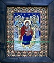 ICO-0013 - Pret 100 € Glass icons. Virgin on the throne with angels.Painted icon in oil on glass with gold foil, in peasant style, Size: 38cm/26 cm. (without frame). Icoana pe sticla . Maica Domnului pe tron cu ingeri.Icoana pe sticla pictata in ulei cu foita de aur, in stil taranesc;Dimensiuni:38cm/26 cm. (fara rama).