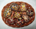 Egg - 0010 - Decorated eggs with traditional geometric motifs and colours that are typical of zone.  Size: hen egg.  Price: 2 €